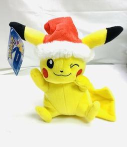 Pikachu Plush OFFICIAL Tomy w/Santa hat!