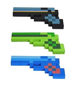 8 Bit Pixelated Blue Diamond, Black Stone & Green Zombie Foa