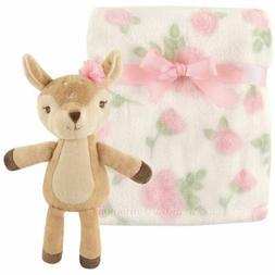Hudson Baby Plush Blanket with Plush Toy Set, Girl Fawn