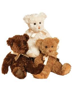 Plush CREAM FUZZY BEAR Teddy Stuffed Animal - by Douglas Cud