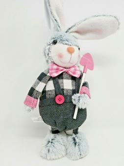 Plush Grey Easter Bunny Rabbit Stand Up Decor Black Checked