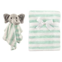 Hudson Baby Plush and Security Blanket Set, Mint Elephant, O