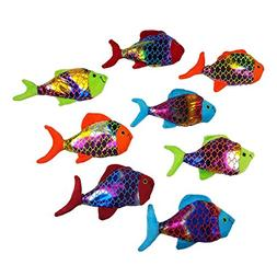 "Small Plush Shiny Colored Fish Toy For Kids ""Value Pack Of 8"
