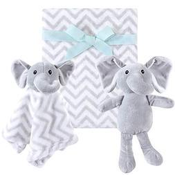 Hudson Baby 3 Piece Plush Toy Blanket Set, Gray Elephant, On