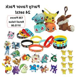 Pokemon Party Favor Value Pack - Plush Toys, Wristband, Tatt