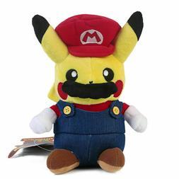 "Pokemon Pikachu Cosplay Mario 9"" Plush Plush Toy Stuffed Ani"
