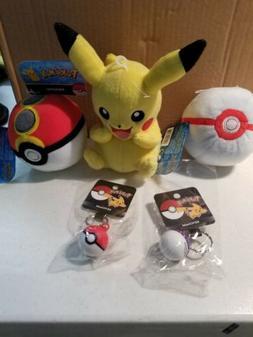 Tomy Pokemon Pikachu Plush Toy. 2 pokeball plushies included