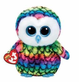"""Rainbow Owl 6"""" Ty Beanie Boos Puppy Glitter Big Eyes Plush S"""