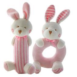 FOREAST 2 Pcs Rattle Set Soft Plush Baby Toys Newborn Gift 0