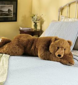 Realistic Large Brown Plush Bear Body Pillow Toy Stuffed Ani