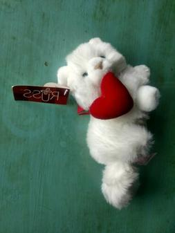 """RUSS WHITE PLUSH CAT NIKKI KITTEN WITH RED BOW AND HEART 9"""""""