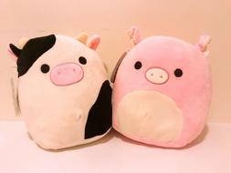 "Set of 2 Kellytoy Squishmallow Pig and Cow 8"" Plush Dolls Ki"