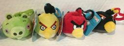 Set of 4 Angry Birds Plush Backpack Clips, Red, Black, Yello