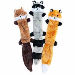 ZippyPaws Skinny Peltz No Stuffing Squeaky Plush Dog Toy, Fo