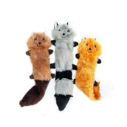 Skinny Peltz No Stuffing Squeaky Plush Dog Toy, Fox, Raccoon