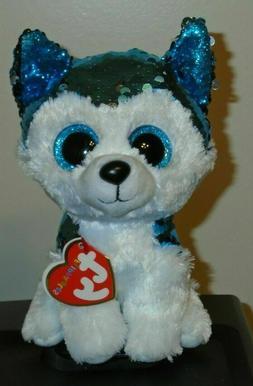 "Ty FLIPPABLES ~ SLUSH Husky Dog Changing Sequins 6"" Beanie B"