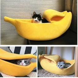 Small Pet Dog Cat Bed Banana Shape Fluffy Warm Soft Plush Ho