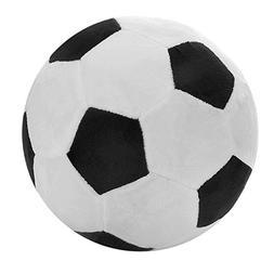 "Tplay Soccer Ball Plush Pillow Toy, 8"" L x 8"" W x 8"" H, Blac"