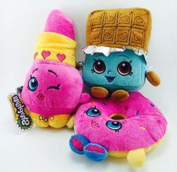 Official Shopkins Soft Plush Character Toy - Set of 3 - 8.5""