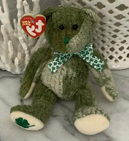St. Patrick's Day Shamrock TY Beanie Babies Bear McWooly NWT