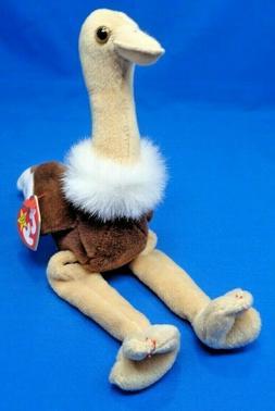 "TY STRETCH the Ostrich Beanie Baby ~7""~PVC~Plush Beanbag Toy"