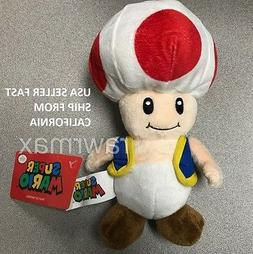 "NWT 8"" Nintendo Official Super Mario Toad Plush Stuffed Toy"