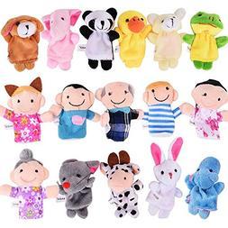 16PCS Tiny Finger Puppets Plush Cloth Toy, Velvet Cute Mini