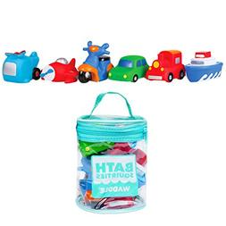 Waddle Transportation Bath Squirter Toys Boys Cars Trucks 6