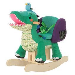 Labebe Child Rocking Horse Toy, Stuffed Animal Rocker, Green
