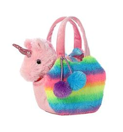 Aurora World Fancy Pals Pet Unicorn Carrier Plush, Rainbow