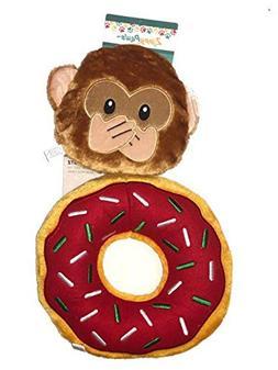 Zippy Paws Squeaky Plush Dog Toy Donutz and Emojiz Monkey As